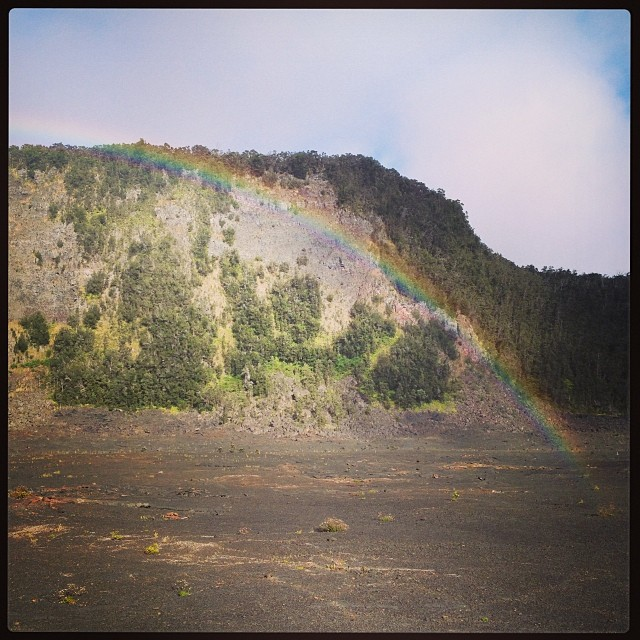 Christmas rainbow in the Kilauea Iki crater