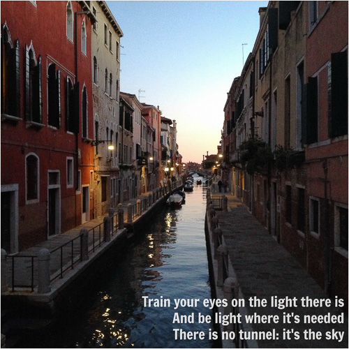 "Photo of Venice at sunset with poem ""Light"" by Simona Carini"