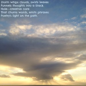 Photo of sun setting through stormy clouds with poem