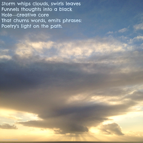 "Photo of sun setting through stormy clouds with poem ""Out of Darkness"" by Simona Carini"