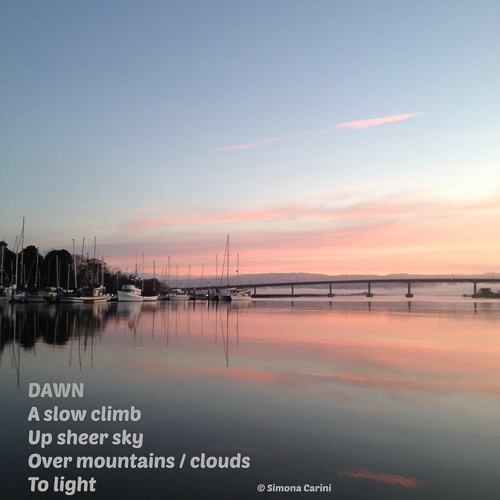 "Photo of Humboldt Bay at sunrise with poem ""Dawn"" by Simona Carini"