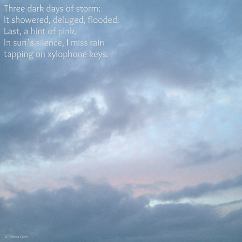 Photo of sky after rain and a hint of pink with poem